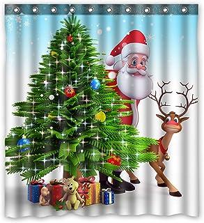 KXMDXA Christmas Tree Reindeer Custom Waterproof Shower Curtain Bathroom Curtains 66x72 inches
