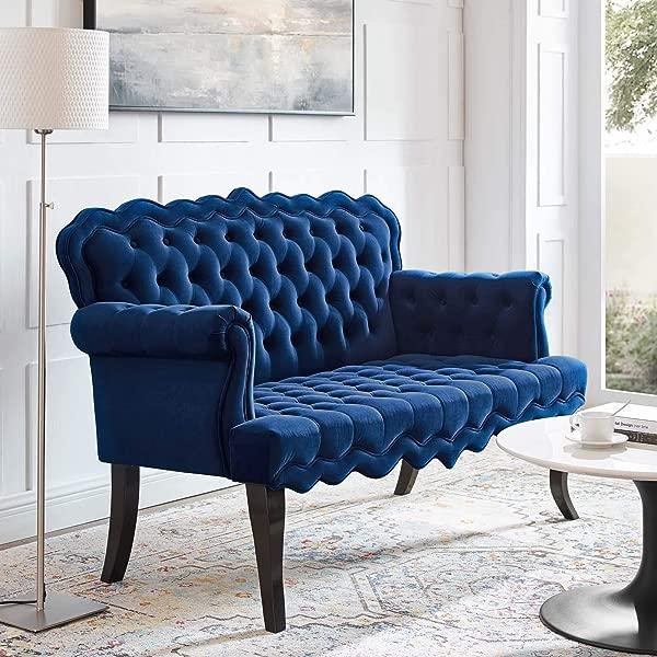 Modway Viola 簇绒天鹅绒现代切斯特菲尔德风格长沙发海军蓝相思