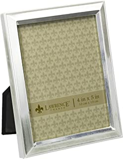 Lawrence Frames Brushed Silver Plated 4 by 5 Metal Picture Frame