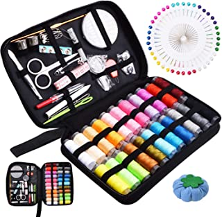 L-Hydrone Sewing Kit for Beginner/Traveler/Emergency/Adults DIY Sewing Supplies Organizer Filled 126 Premium Sewing Supplies with Scissors, Thimble,Tape Measure Etc, Black Carrying Case-L