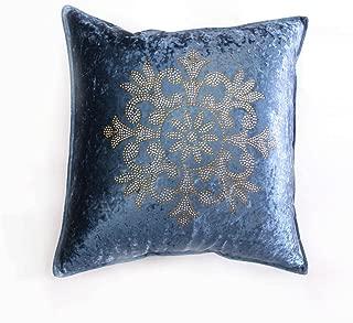 Best Home Fashion - Blue Golden Snowflake Rhinestone Stud Velvet Pillow Cover 19