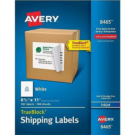Avery Shipping Address Labels, Inkjet Printers, 100 Labels, Full Sheet Labels, Permanent Adhesive, TrueBlock (8465), White