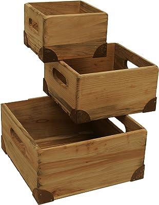 Wald Imports Natural Pine Wood Decorative Crates/Boxes, Set of 3