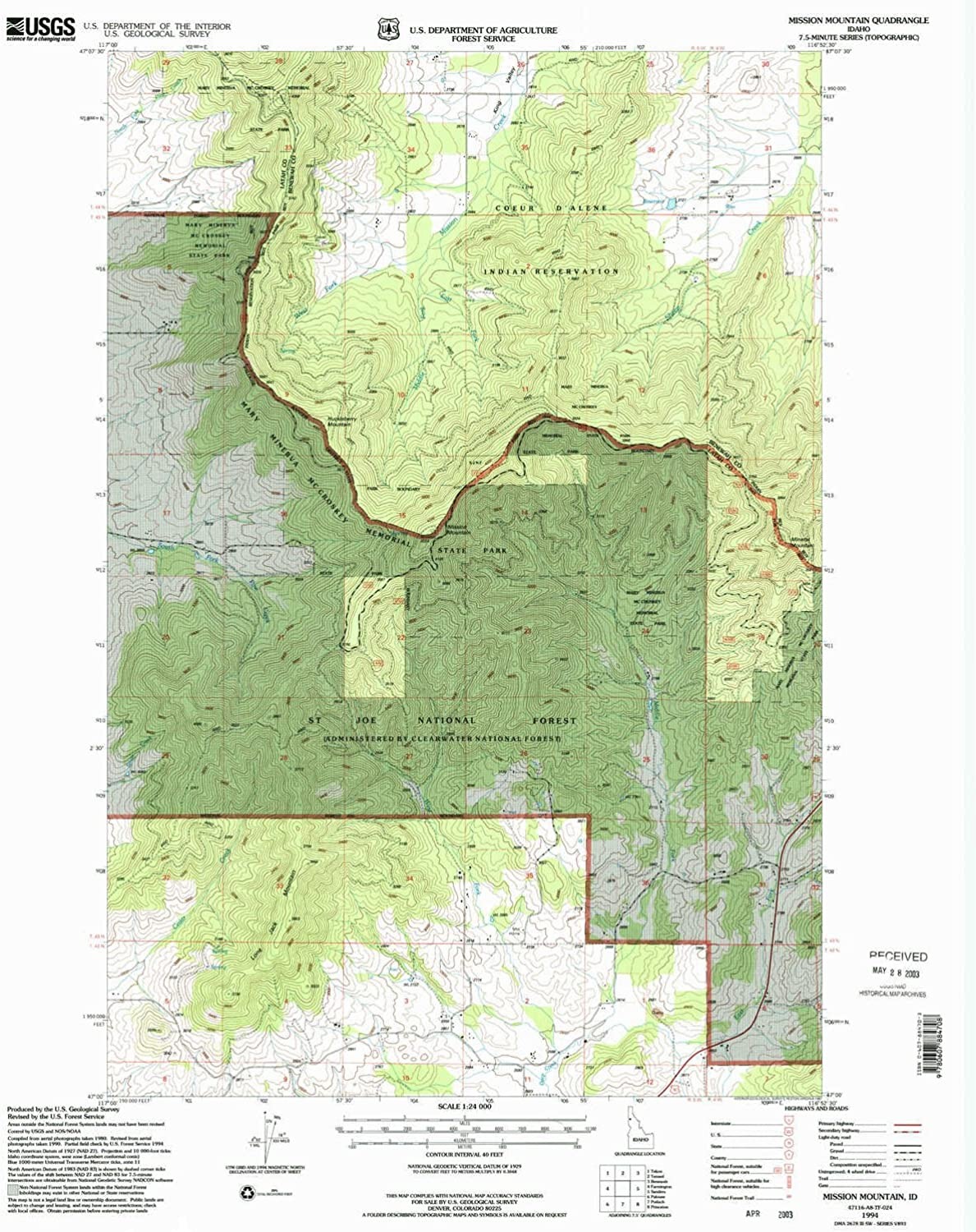 Mission Mountain ID topo map, 1 24000 Scale, 7.5 X 7.5 Minute, Historical, 1994, Updated 1997, 27 x 22.1 in
