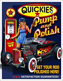 Desperate Enterprises Quickies Pump & Polish Tin Sign, 12.5