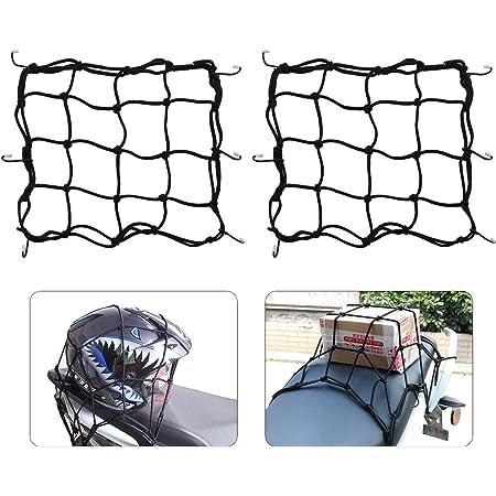 Motorrad Gepäcknetz Fahrrad Netz 2 Stück Helmnetz Mit Haken Spannnetz Sicherungsnetz Für Befestigung Helm Gepäcktasche Gummizug Dehnbar 28 X 28cm Auto