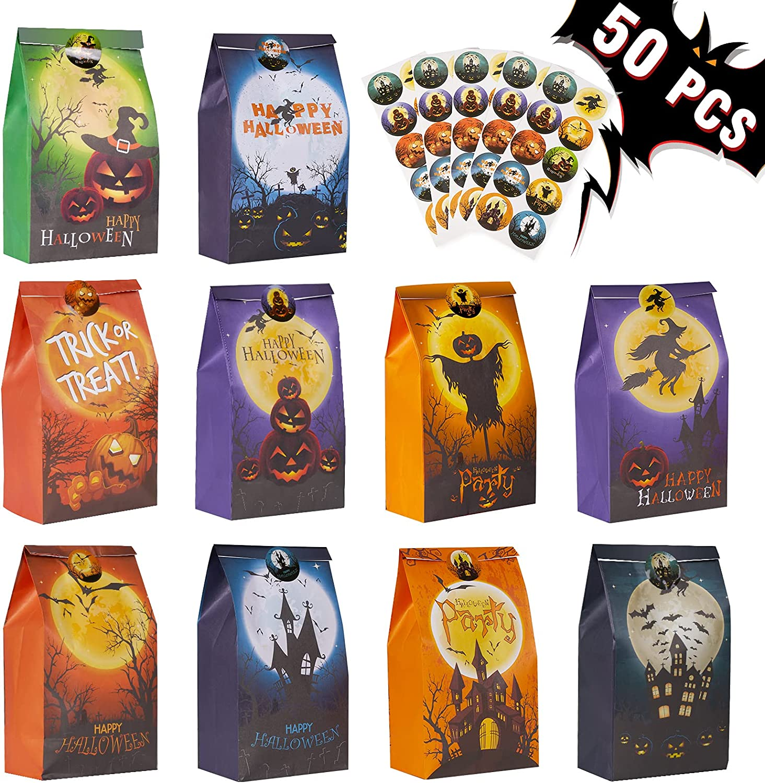 Popular 2021 standard Decorlife 50 PCS Halloween Treat 10 Bags Paper Style
