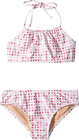 Toobydoo Pink Dots Bandeau Halter Bikini (Infant/Toddler/Little Kids/Big Kids)