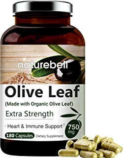 NatureBell HM180C Organic Olive Leaf Extract 750mg, Active Polyphenols and Oleuropein, Strongly Supports Immune and Cardiovascular Health, Non-GMO, Made In USA,180 Capsules