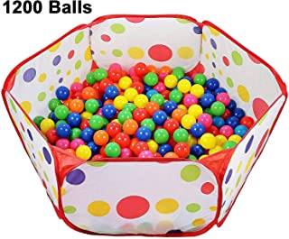 Encheng Pack of 1200 Ball Pit Balls Crush Proof Plastic Ball, Pit Balls ,Kids Ball Pit Small Pop Up Toddler Ball Pits,for Toddlers Girls Boys for Indoor Outdoor,Bright Colors,Phthalate Free BPA Free …