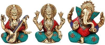 Collectible India Brass Lakshmi Ganesh Saraswati Statue Set (15 cm x 5 cm x 18 cm)
