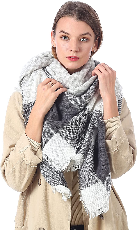 LOKEEVAN Bufanda de Invierno Bufanda de Punto con Flecos para Mujeres Hombres 135cm*135cm Grande Cuadros Estola