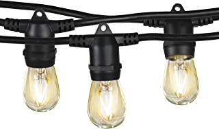 Brightech Ambience Pro - Waterproof LED Outdoor String Lights - Hanging 2W Vintage Edison Bulbs - 48 Ft Industrial Grade Patio Lights Creates Cafe Ambience in Your Backyard