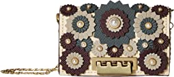 Earthette Card Case with Chain - Broque Floral Applique
