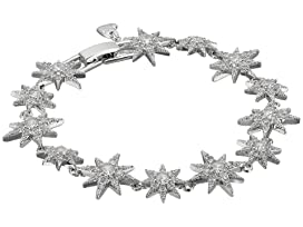 Blue by Betsey Johnson Silver Tone Star CZ Stone Tennis Bracelet with Pave Crystal Accents