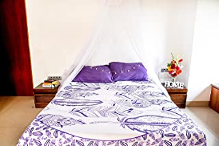 Purple Feather Mandala Bedding with Pillow Covers, Indian Bohemian Hippie Tapestry Wall Hanging, Hippy Blanket or Beach Throw, Mandala Ombre Bedspread for Bedroom, Purple Full Size Boho Tapestry Set