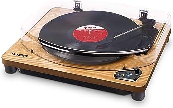 ION Audio Air LP Wood - Tocadiscos de vinilo Bluetooth - reproducción inalámbrica y conversión de discos de 3 velocidades - 33 1/3, 45 y 78 RPM, Acabado Madera