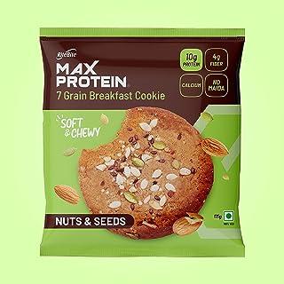 RiteBite Max Protein 7 Grain Breakfast Cookies - Nuts & Seeds 660 g - Pack of 12 ( 55g x 12 ) Consist of Protein, Fiber, C...