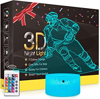 3D Night Light, Rquite Table Lamp with Smart Touch & Remote Control 7 Colors Changing, Optical Illusion Visual Led Lights for Living Bedroom & Home Decor Perfect Gifts Kids Girls Boys(Spinosaurus)