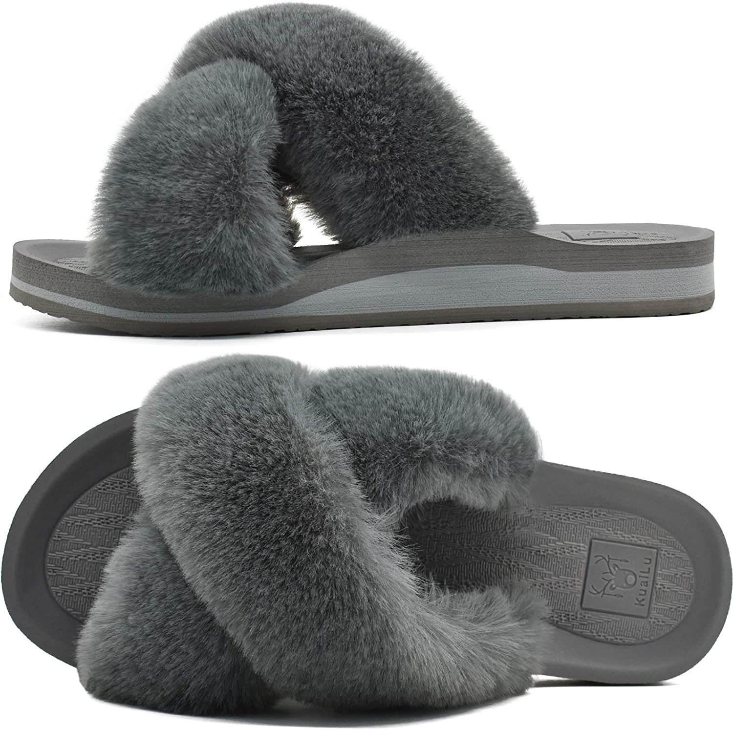 KUAILU Womens Fuzzy Slides Fluffy Faux Open Slippers Max 40% OFF House T Max 89% OFF Fur