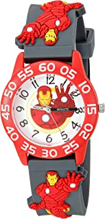 MARVEL Boys' Iron Man Analog-Quartz Watch with Silicone Strap, Grey, 16 (Model: WMA000032