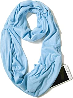 Infinity Solid Color Scarf with Hidden Zipper Pocket for Women Lightweight Travel Wrap
