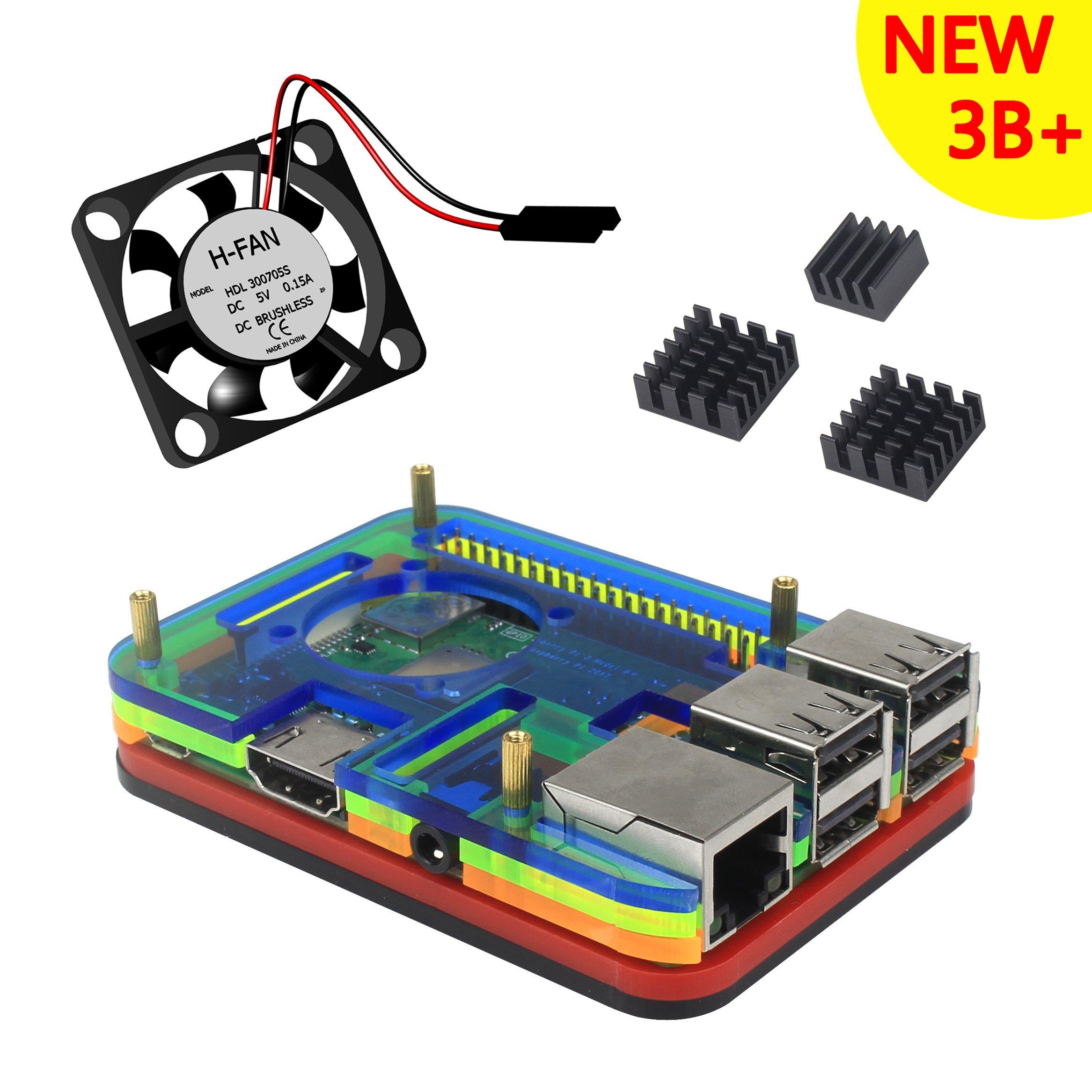 Para Raspberry Pi 3 b+ Caja, 5 Capas Color Carcasa, Ventilador ...