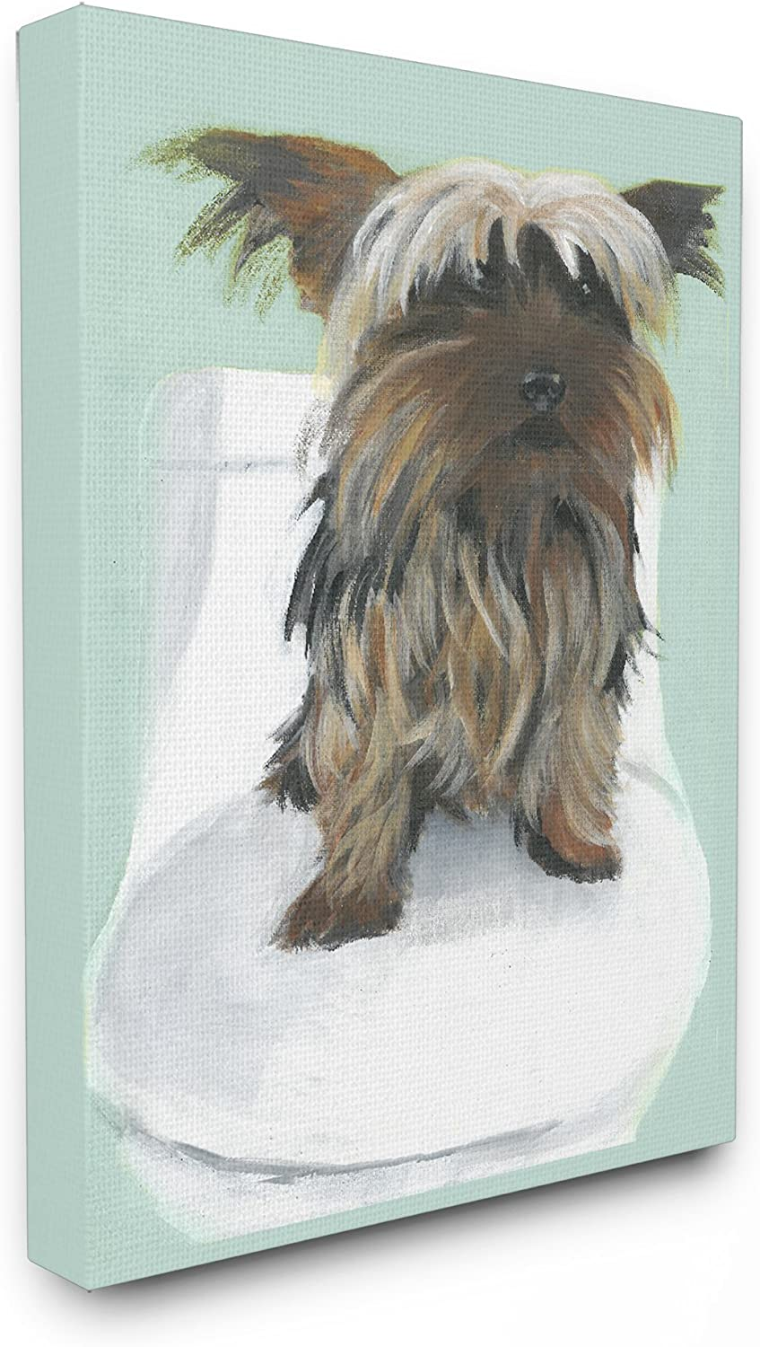 The Stupell Home Decor Collection Yorkie in The Bathroom Illustration