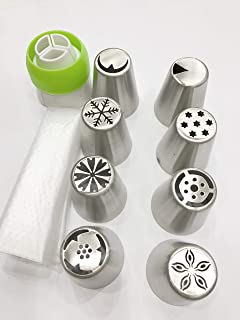 Stainless steel Russian tulip icing piping Nozzles with 3 color coupler and 3 lcing bags