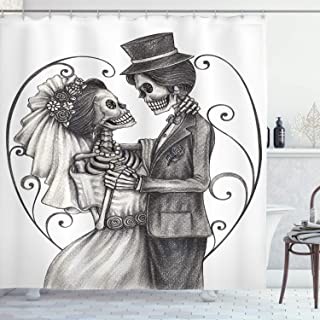 Ambesonne Day of The Dead Shower Curtain, Love Skull Skeleton Marriage Eternal Love Theme Spanish Art, Cloth Fabric Bathroom Decor Set with Hooks, 70
