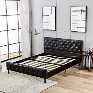 Mecor Upholstered Faux Leather Platform Bed with Solid Wooden Slat Support and Button Tufted Headboard and Footboard- Queen Size- Black