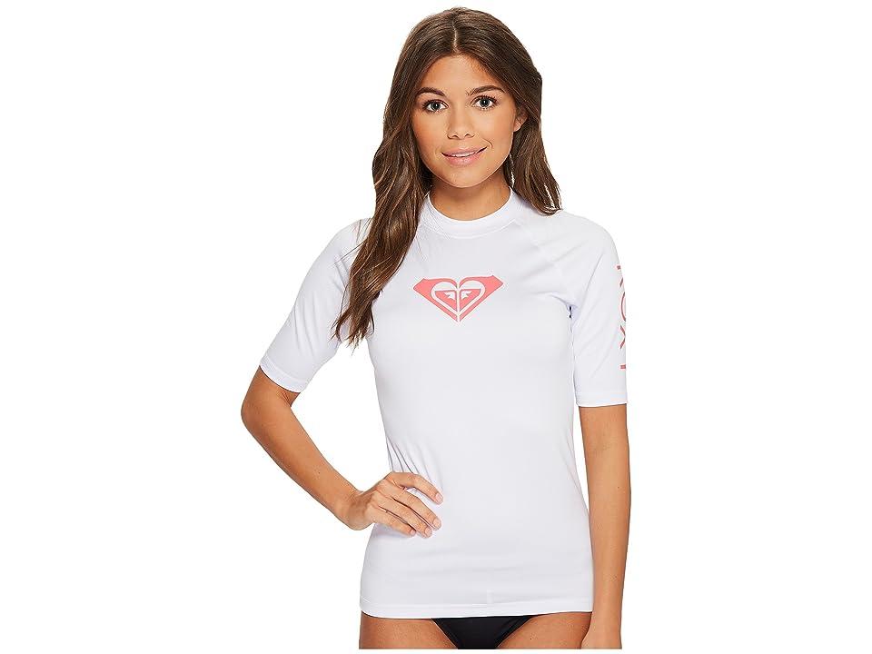Roxy Whole Hearted Short Sleeve Rashguard (White) Women