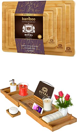 high quality Bamboo Cutting Board 2021 with Juice Groove high quality (4-Piece) and Luxury Bathtub Caddy Tray online