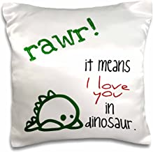 3dRose pc_193339_1 Rawer It Means I Love You in Dinosaur Pillow Case, 16 x 16