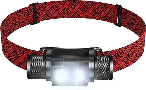 SLONIK 1000 Lumen Rechargeable CREE LED Headlamp w/ 2200 mAh Battery - Lightweight, Durable, Waterproof and Dustproof...