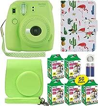 Fuji Instax Mini 9 Instant Camera Lime Green with Custom Case + Fuji Instax Film Value Pack (50 Sheets) Flamingo Designer Photo Album for Fuji instax Mini 9 Photos