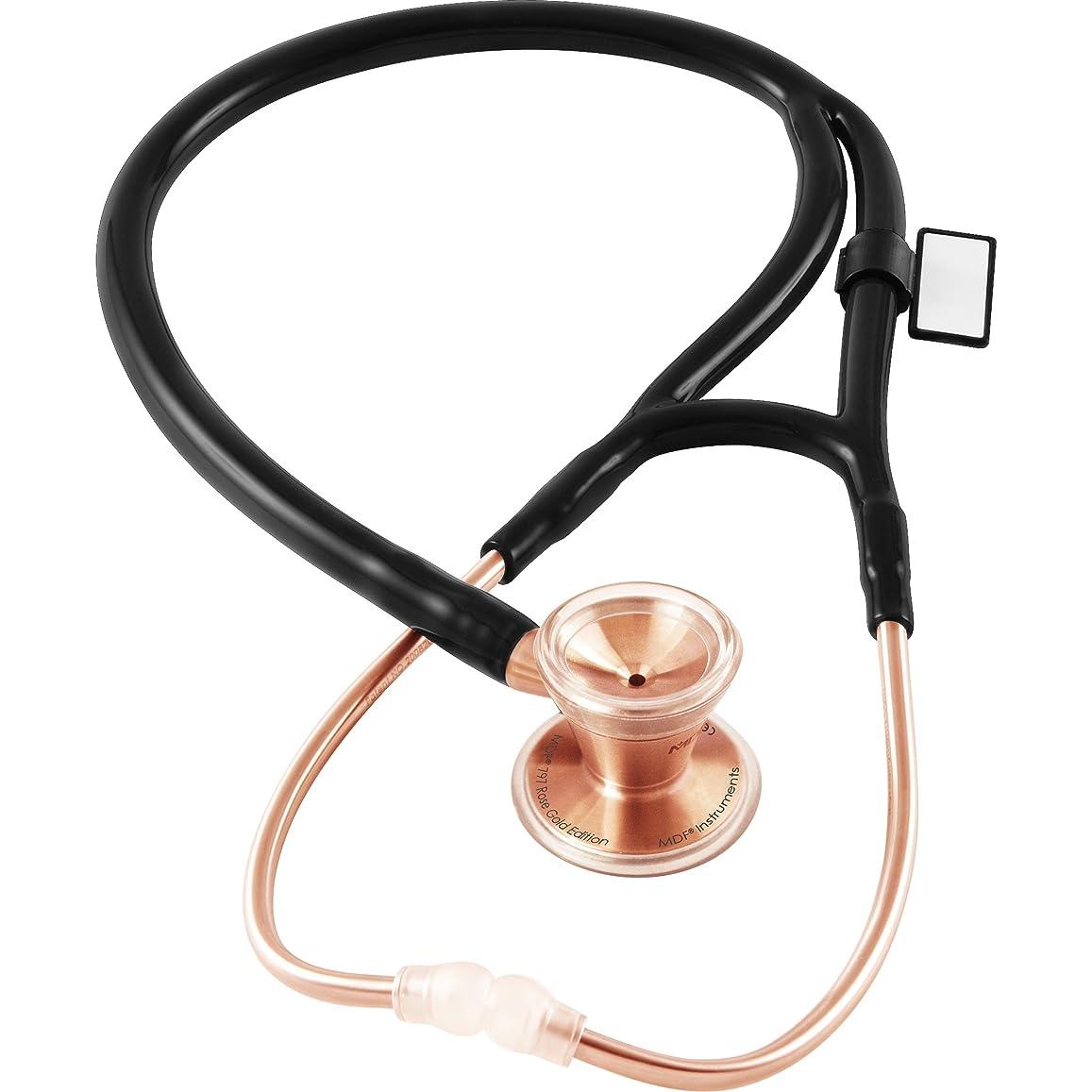大学院に賛成地平線MDF クラシックカーディオロジーデュアルヘッド聴診器 - ローズゴールド - ブラック(MDF797RG11) ステンレススチールチェストピース及びヘッドセット付- フリーパーツライフ&ライフタイム保証