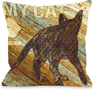 One Bella Casa I Love My Cat Wood Throw Pillow for Pets, 26 by 26-Inch