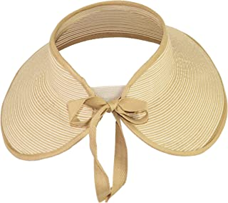 Large Wide Brim Straw Sun Visor, Rollup Visor Summer Swimming Hat, Cute Ribbon Bow