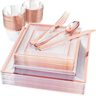 150 Pieces Rose Gold Square Plastic Plates with Silverware and Cups Disposable Rose Gold Dinnerware Includes: 25 Dinner Pl...