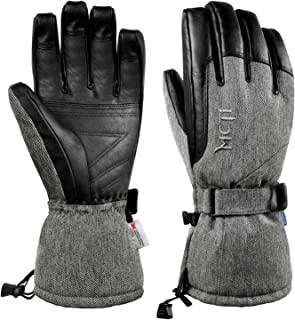 MCTi Ski Gloves Winter Waterproof Snowboard Snow Warm 3M Thinsulate PU Leather Cold Weather Gloves for Mens Womens