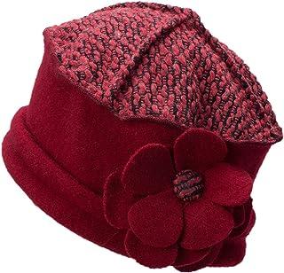Lawliet Flower Trimmed Womens Wool Beanie Cap Dress Crochet Hat A125 (Red)