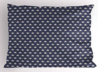 Ambesonne Star Pillow Sham, Patriotic Star of The American Flag Independence Themeds of Freedom, Decorative Standard Size ...