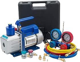 OrionMotorTech 4.8CFM Vacuum Pump & Manifold Gauge Set | A/C HVAC Refrigeration Kit | Evacuation & Recharging | Diagnostic R134a R22 R410a