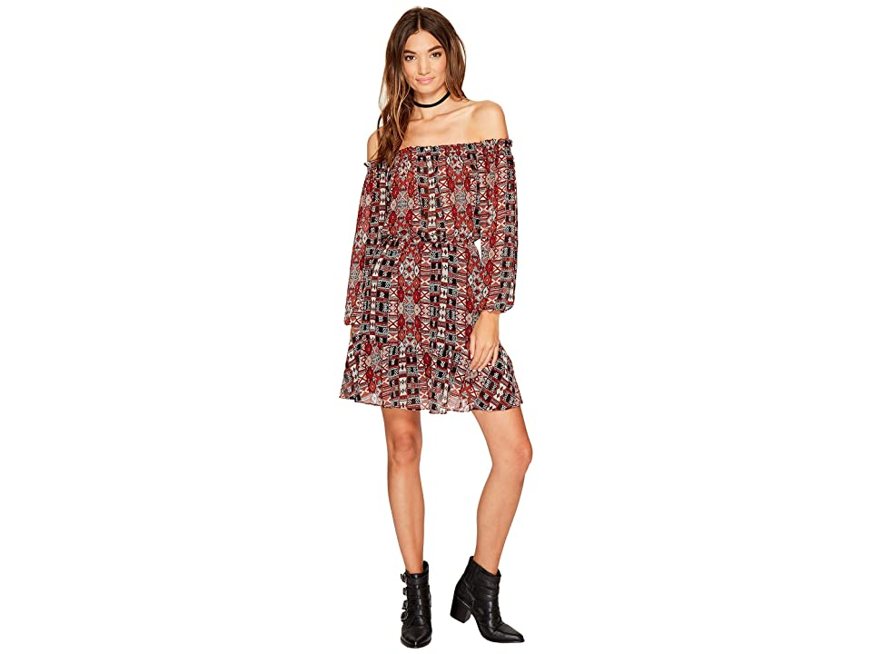 BB Dakota Sienna Printed Off the Shoulder Dress (Black) Women