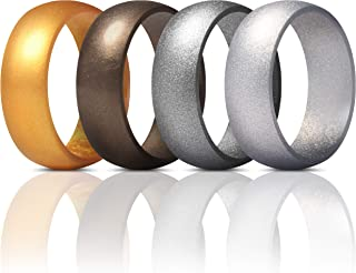 Mens Silicone Rings Wedding Bands - 4 Pack Classic & Middle Line - 8.7mm Wide - 2.5mm Thick