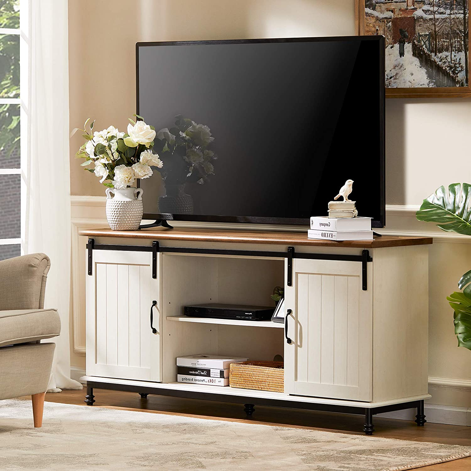 Many popular brands WAMPAT Bargain sale Farmhouse TV Stand for TVs Safet Up with 65