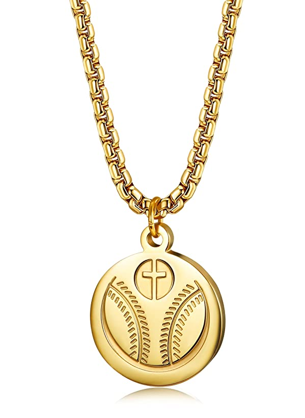 FIBO STEEL Inspirational Baseball Necklaces for Men Women Athletes Cross Necklace Faith Prayer Necklace Sport Medal Pendant Necklace 22 Inches