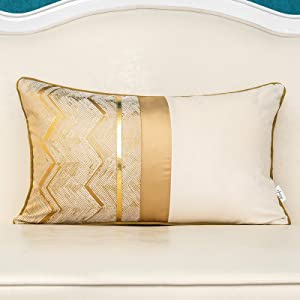 Alerfa 12 x 20 Inch Khaki White Geometric Striped Gold Leather Patchwork Velvet Cushion Case Luxury Modern Lumbar Throw Pillow Cover Decorative Pillow for Couch Sofa Living Room Bedroom Car