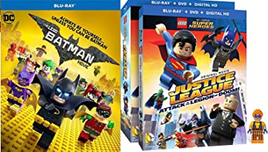 Block Gotham LEGO Character Trickster Pack Batman Movie DC Blu Ray + Justice League: Attack of the Legion of Doom! w/ Figurine Special Edition Super Heroes Unite Double Feature 2 Pack